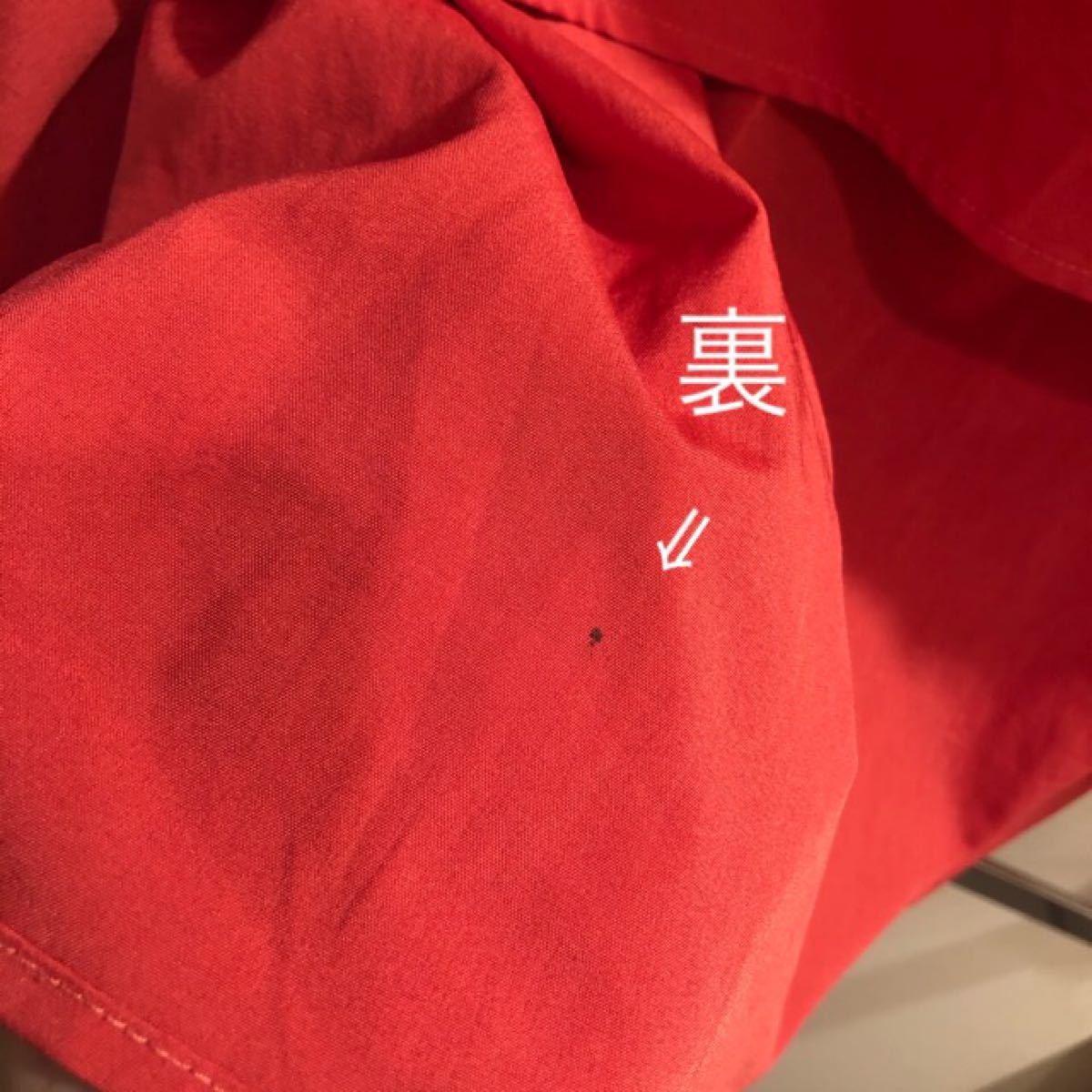 シャツワンピース 半袖 Aライン  OPAQUE 赤 マキシワンピース