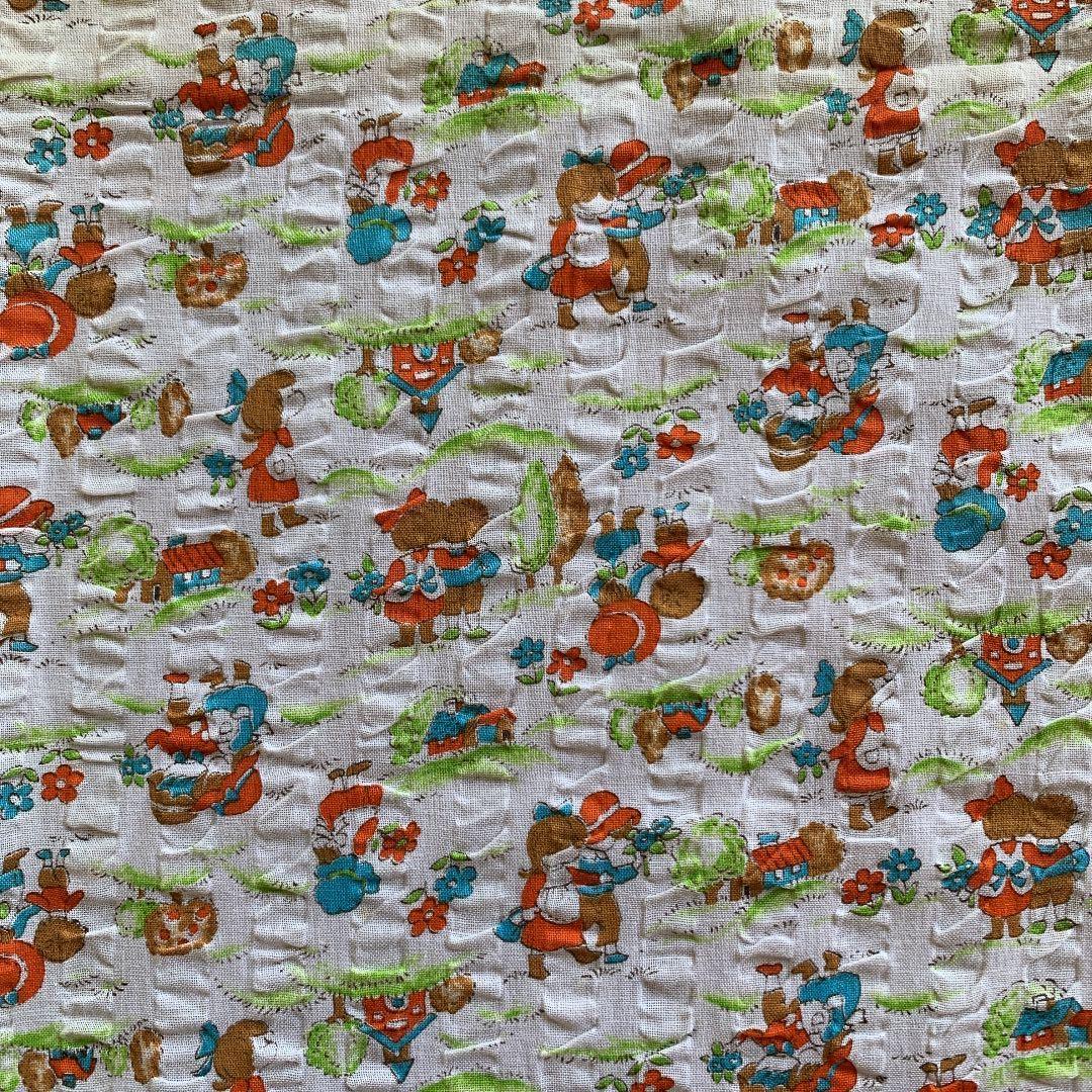 はぎれ 87×74 デッドストック 昭和レトロ リップル生地 ハンドメイド ファンシー 子供柄 リメイク 雑貨 布 手作りマスク ダサかわ 手芸