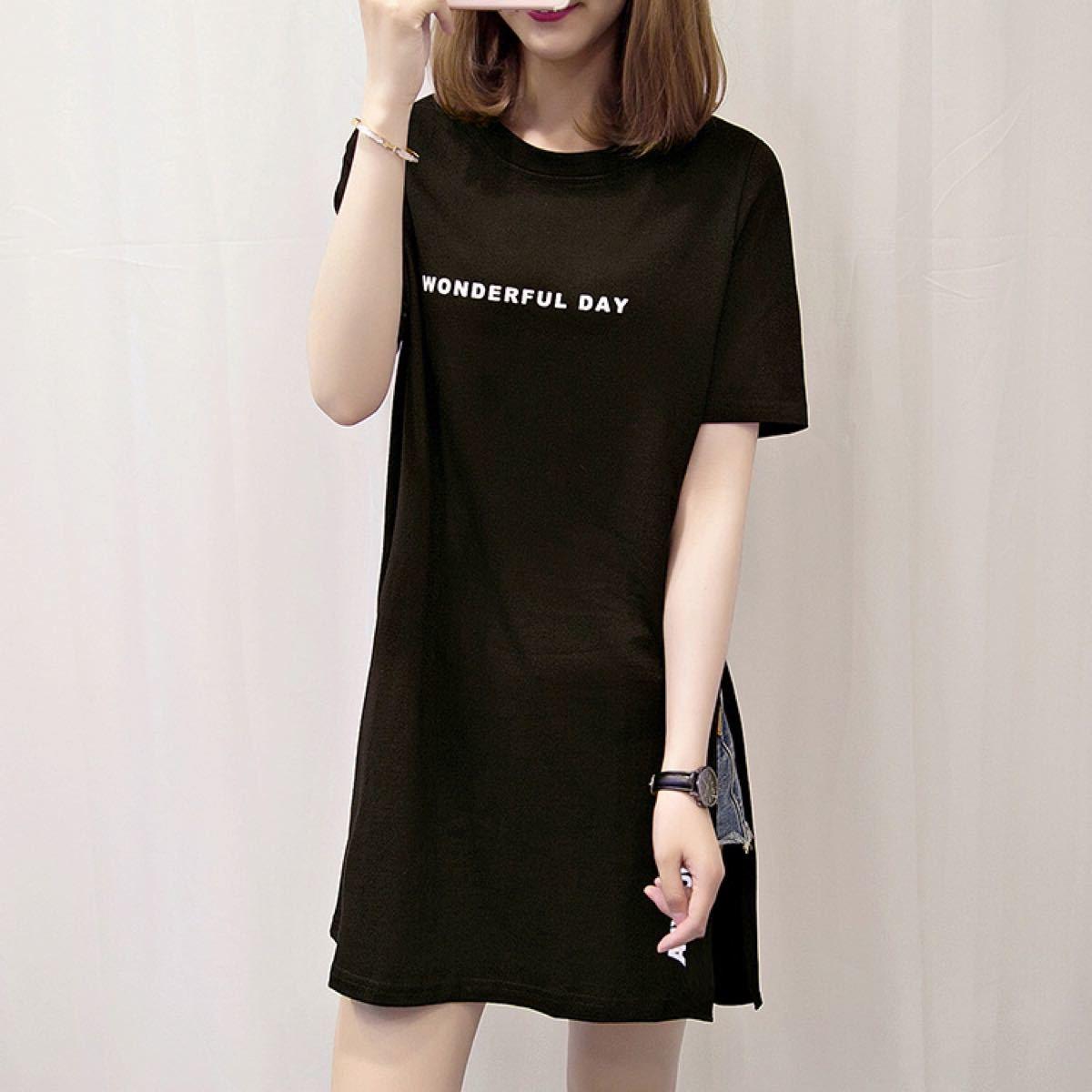ワンピース   Tシャツ チュニック レディース ミニ丈 スリット ロゴT 韓国