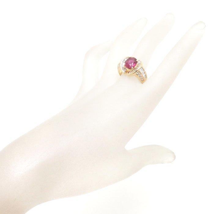 リング K18YG ルビー2.38ct ダイヤモンド1.11ct/0.64ct 17号 18金イエローゴールド 指輪 レディース ジュエリー /64288 【中古】_画像2
