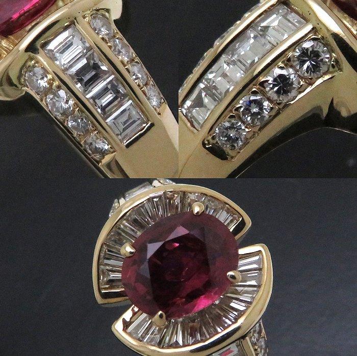 リング K18YG ルビー2.38ct ダイヤモンド1.11ct/0.64ct 17号 18金イエローゴールド 指輪 レディース ジュエリー /64288 【中古】_画像6