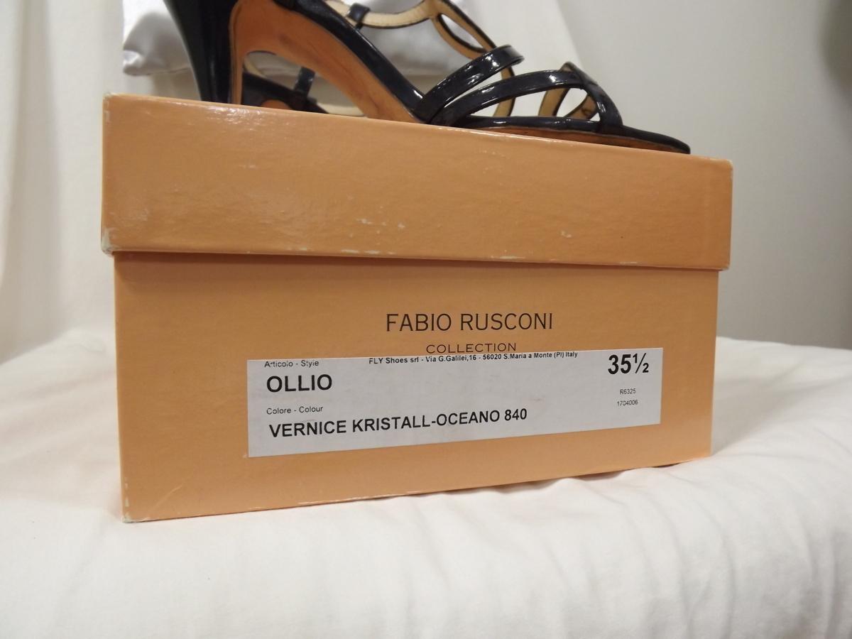 FABIO RUSCONI(ファビオルスコーニ) イタリア製 エナメルレザー使い ミュール サンダル サイズ35 1/2 22.5cmくらいです。_画像9