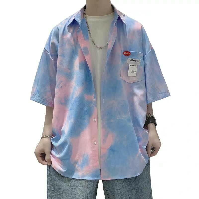 シャツ メンズ オーバーサイズ オルチャン タイダイ柄 半袖 ビッグシルエット