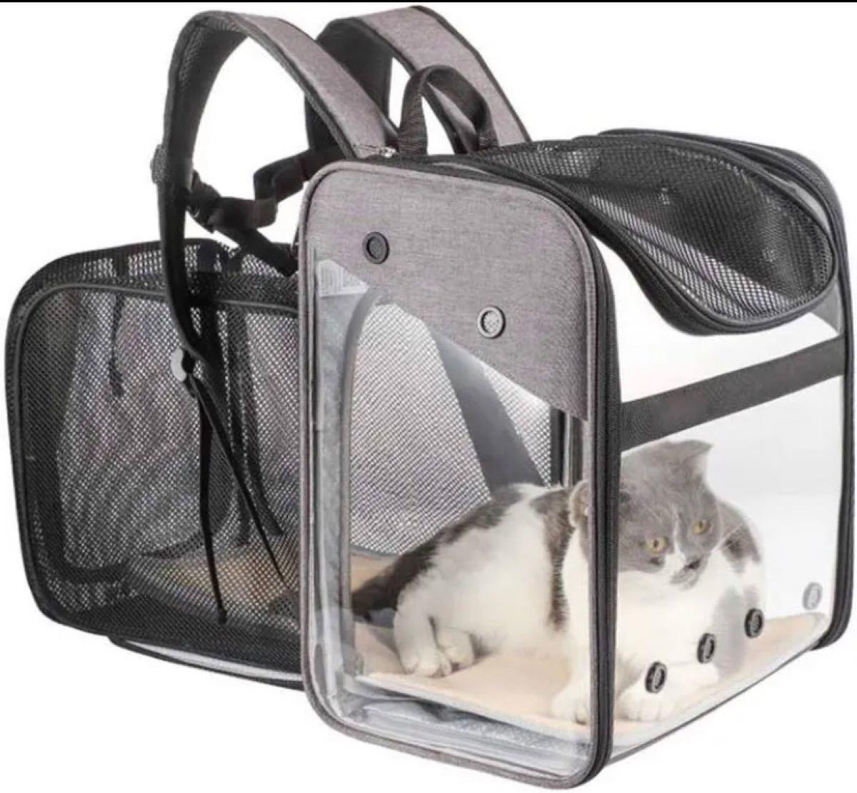 ペキュートペットキャリーバッグリュック容量を拡張可能なバックパックペット