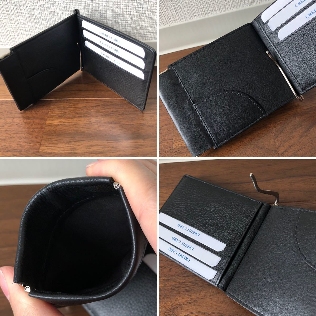 本革 ソフトレザー 薄型 マネークリップ ブラック 二つ折り財布 バネ口 コインケース メンズ レディース ビジネス コンパクト 薄マチ 財布_画像3