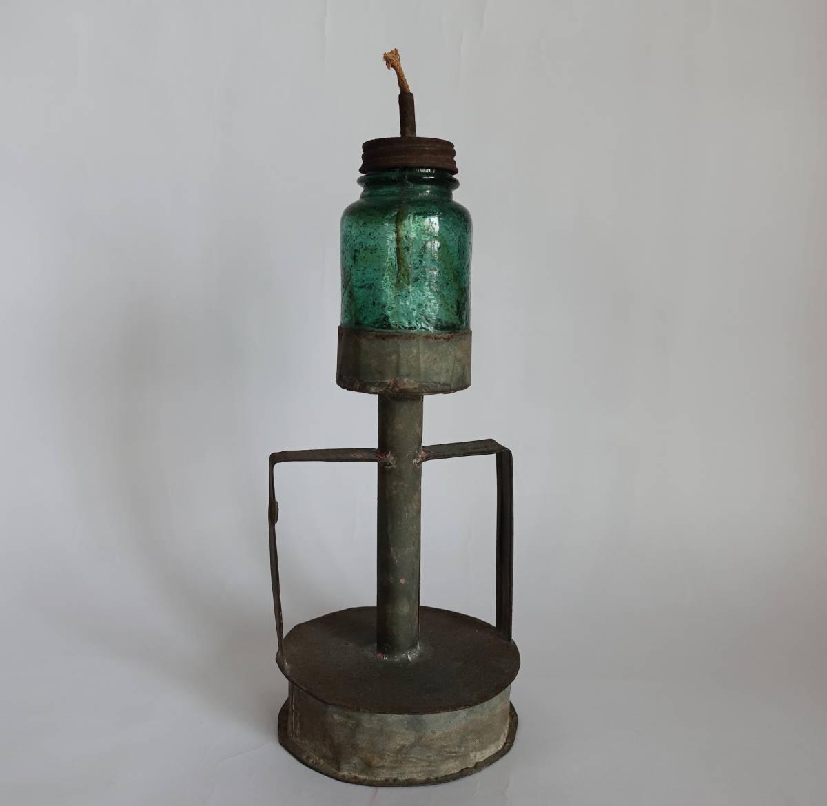 イギリス購入 アンティーク ブリキ 気泡 ガラス 硝子 ランプ オイル ランタン ヴィンテージ グリーン 古道具坂田 インダストリアル 骨董