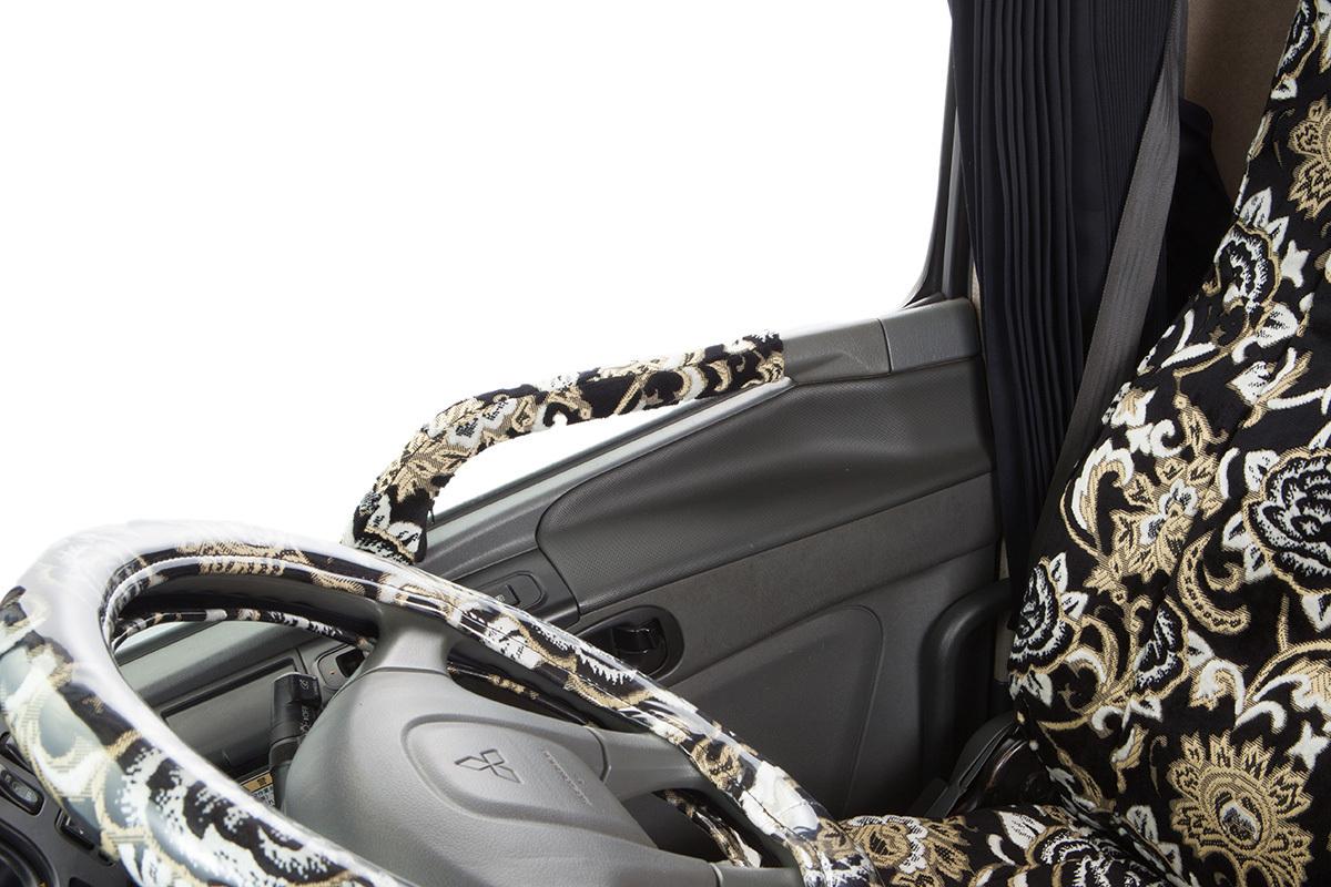 トラック内装 金華山 ドアハンドルカバー モンブランローズ ブラック いすゞ 07エルフ ハイキャブ 標準・ワイド H19.01~【送料800円】_画像2