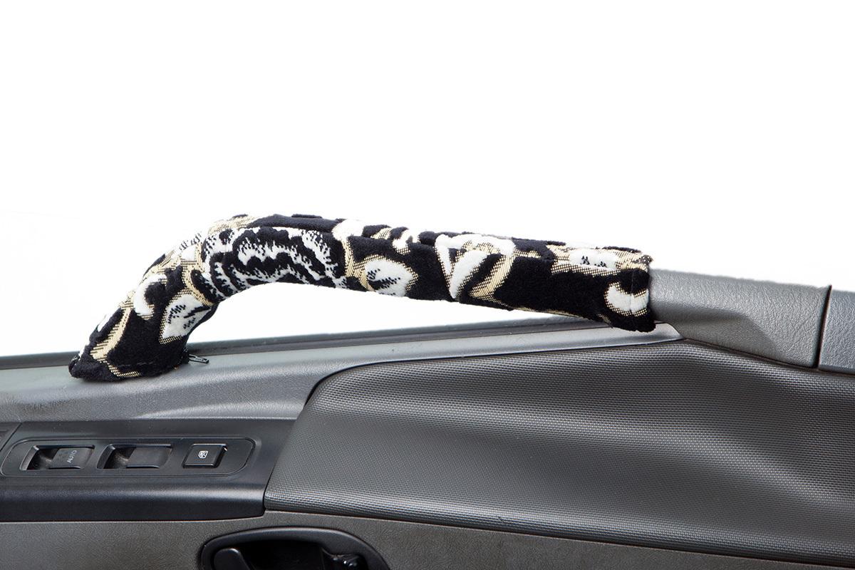【送料800円】トラック内装 金華山 ドアハンドルカバー モンブランローズ ブラック いすゞ 07エルフ ハイキャブ 標準・ワイド H19.01~_画像3