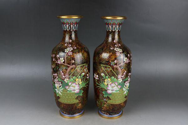 極上珍品 銅胎景泰藍 七宝焼 琺瑯彩 花瓶 一対  花器 置物 賞物 賞瓶 中国古董品
