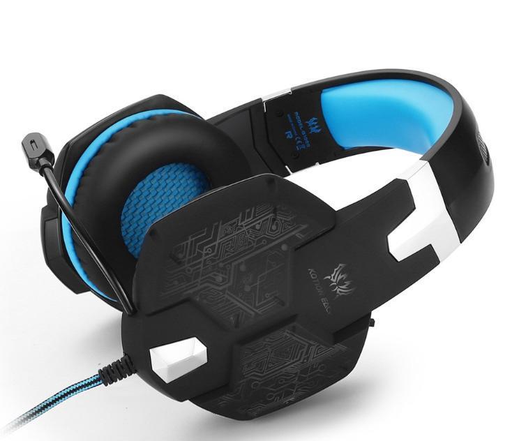 W50 ゲーミングステレオヘッドホン ゲーム ヘッドセット 高音質 マイク LEDライト 手元コントローラー 快適装着性 ブルー/青 PC/PS4/XBOX_画像2