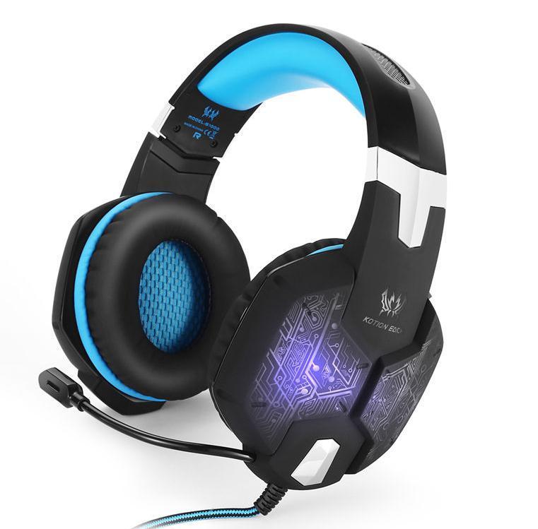 W50 ゲーミングステレオヘッドホン ゲーム ヘッドセット 高音質 マイク LEDライト 手元コントローラー 快適装着性 ブルー/青 PC/PS4/XBOX_画像1