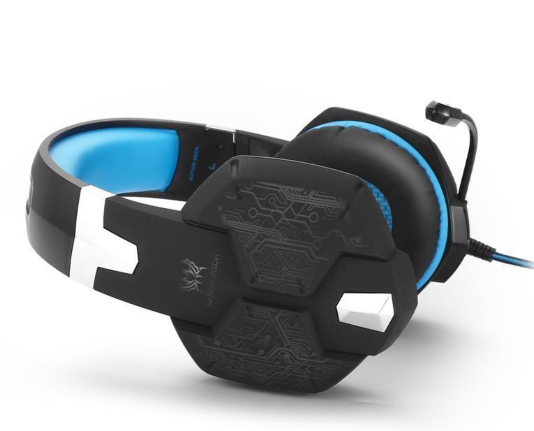 W50 ゲーミングステレオヘッドホン ゲーム ヘッドセット 高音質 マイク LEDライト 手元コントローラー 快適装着性 ブルー/青 PC/PS4/XBOX_画像3