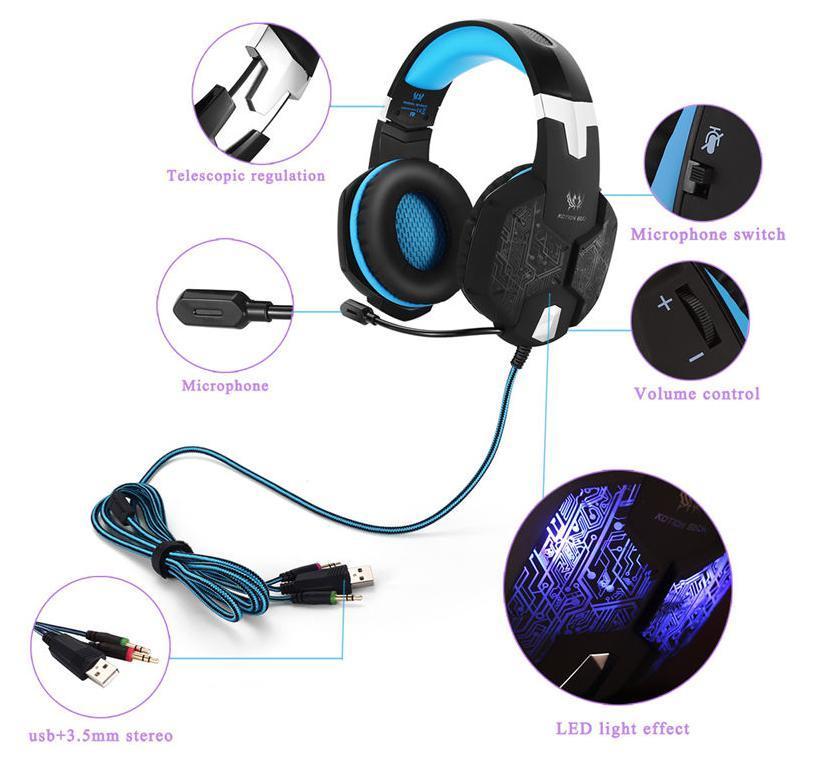 W50 ゲーミングステレオヘッドホン ゲーム ヘッドセット 高音質 マイク LEDライト 手元コントローラー 快適装着性 ブルー/青 PC/PS4/XBOX_画像7
