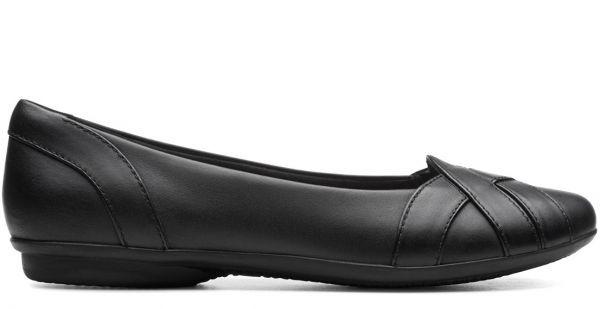 送料無料 Clarks 25.5cm フラット ブラック バレエ ヒール フォーマル レザー 革 ローファー パンプス スニーカー サンダル ST3_画像2
