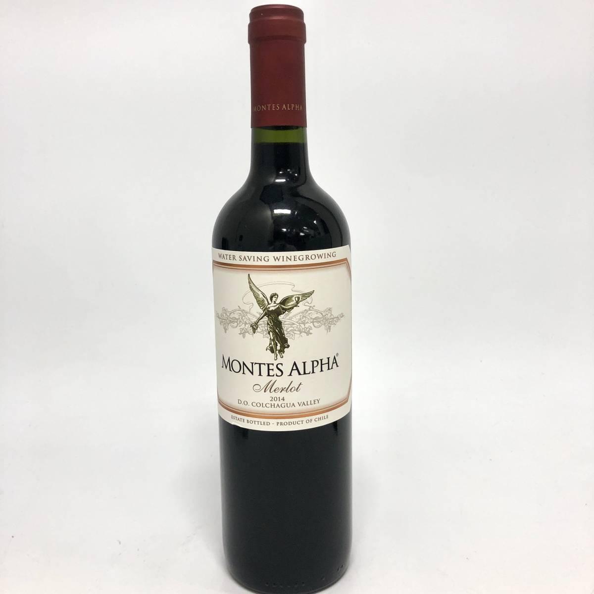 MONTES ALPHA Merlot モンテスアルファ メルロ 2014 14.5% 750ml チリワイン 赤ワイン カルメネール(Y0822_1)_画像1