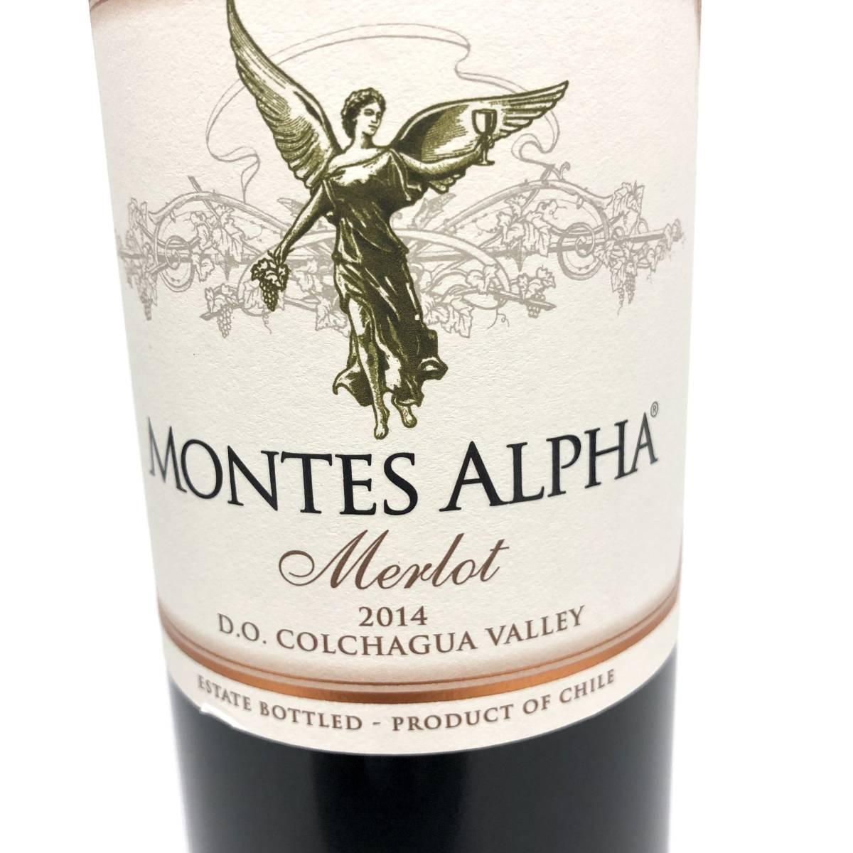 MONTES ALPHA Merlot モンテスアルファ メルロ 2014 14.5% 750ml チリワイン 赤ワイン カルメネール(Y0822_1)_画像2