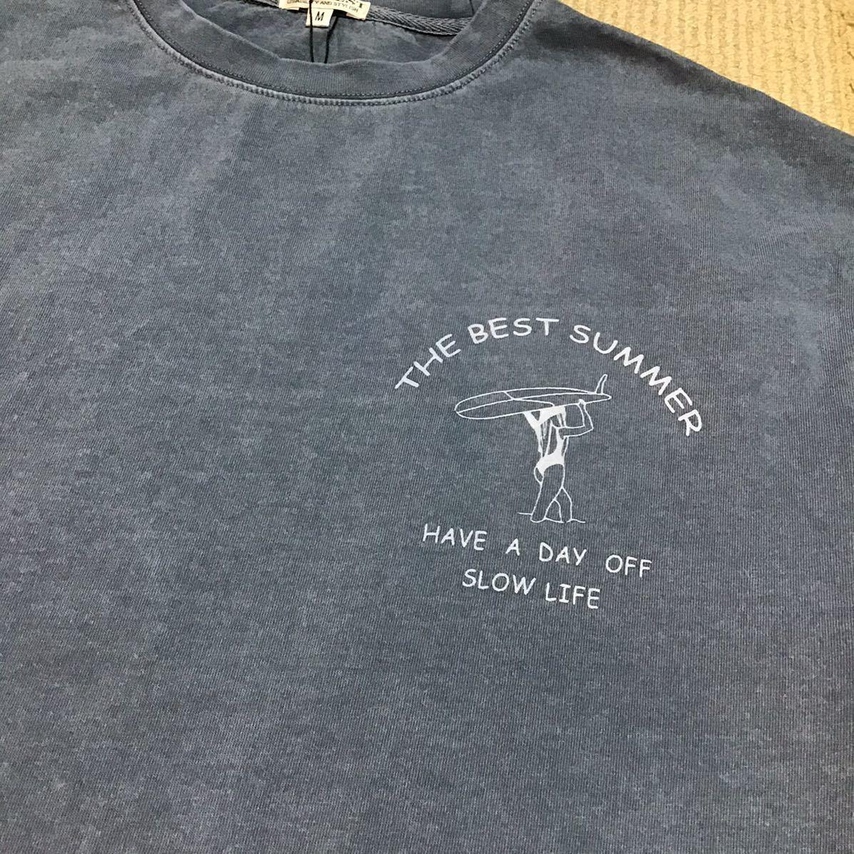 Tシャツ メンズ 新品未使用 バックプリント サーフィン 半袖 Tシャツ 送料無料 Mサイズ ブルー激安セール