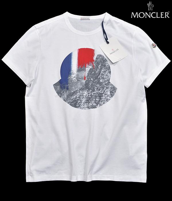 新品6.4万 MONCLER ( モンクレール ) 最高級!大人のハイクオリティーなペイントデザイン!Tシャツ 半袖 (Lサイズ)【直営購入】白_画像1