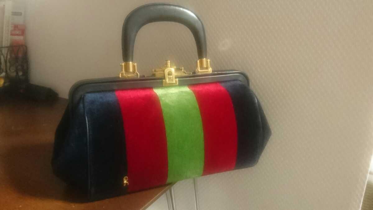 ロベルタ カメリーノ (バゴンギ)ベロア/レザー 定番カラー ハンドバッグ 極美品 _画像1