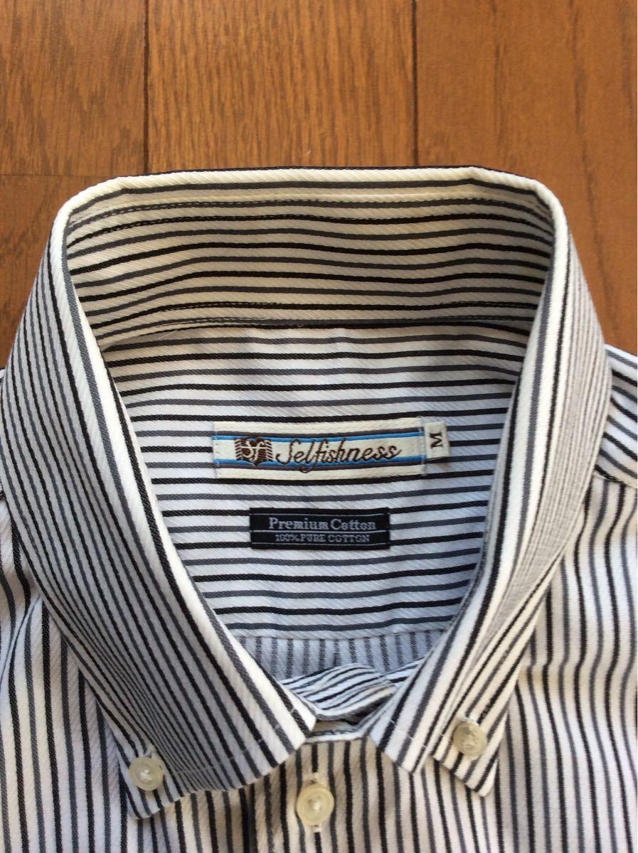 ストライプシャツ M プレミアムコットン 綿100% 形状安定加工 長袖シャツ