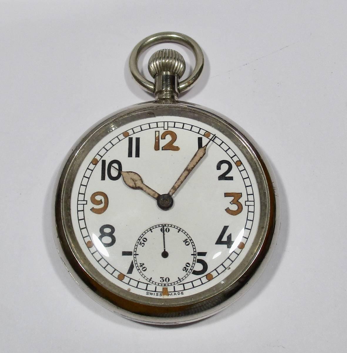☆ 英国軍用 ブロードアロー 第二次世界大戦 提げ時計 1940年頃_画像1