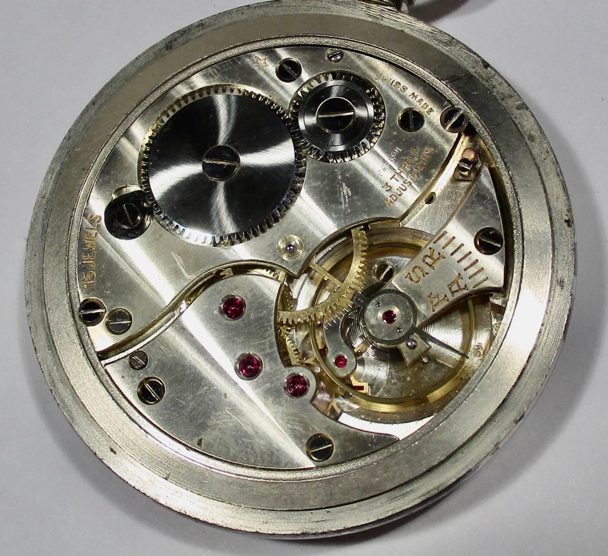 ☆ 英国軍用 ブロードアロー 第二次世界大戦 提げ時計 1940年頃_画像5