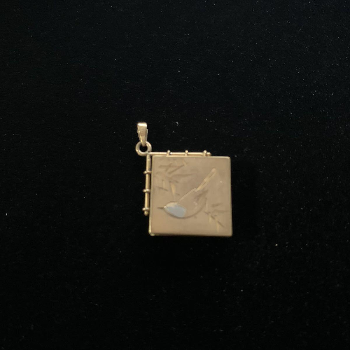 金製 方位磁石 ミニチュア k18 4.1g アンティーク 象嵌彫刻