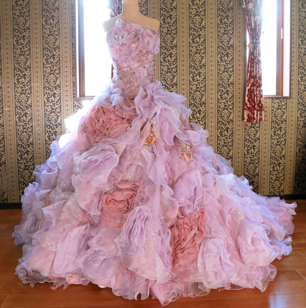 超豪華な逸品!高級ウエディングドレス7号Sサイズ紫カラードレス送料無料ロングトレーン