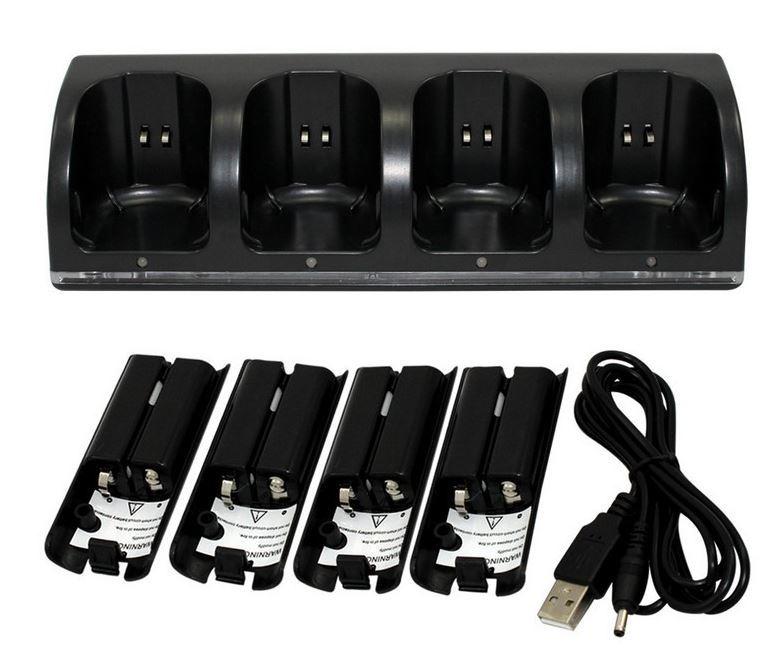 任天堂 wii リモコン ブラック 簡単 USB 充電 充電器 楽々 バッテリー4個 即納 格安