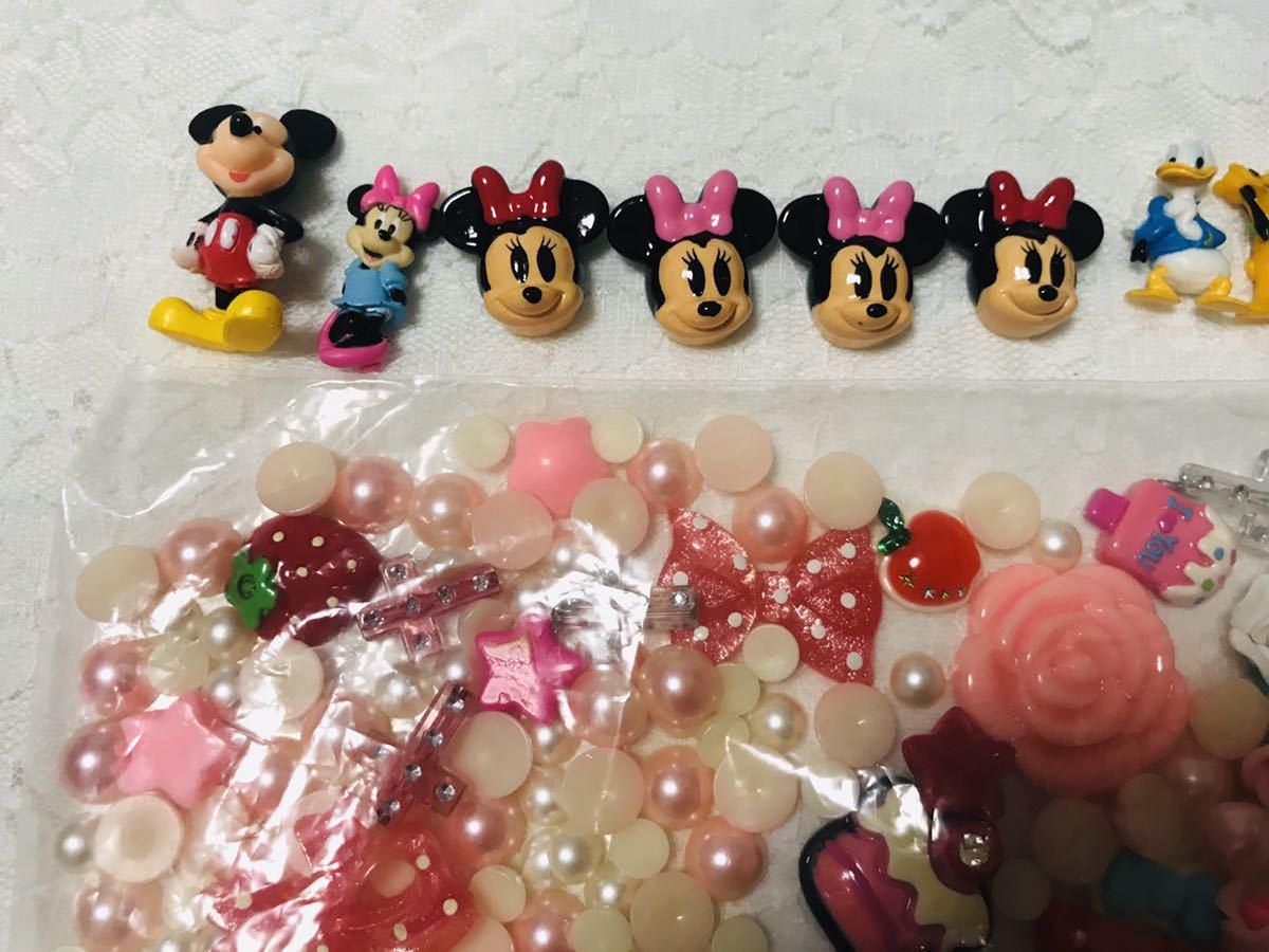 デコ材料 デコ ミッキー ミニー ディズニー パール まとめ売り まとめて 大量 花 ネイル ネイルアート ハンドメイド 材料 デコパーツ