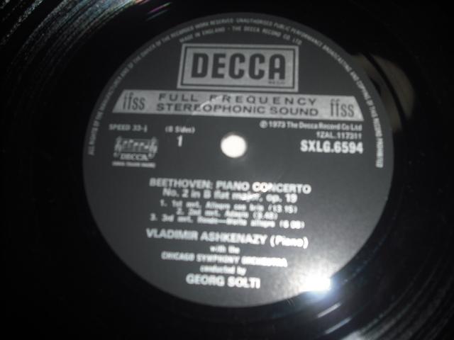 英DECCA SXLG6594-7 アシュケナージ ショルティ指揮 /ベートーヴェン・ピアノ協奏曲全集 ED4small 4LPbox優秀録音盤_画像3