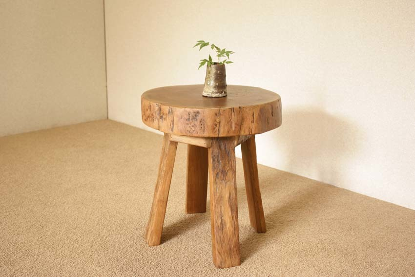 『癒し』アンティーク*チーク古木自然杢*オールドチーク*銘木*無垢*木の椅子*古い木*ナチュラルウッド*天然木*スツール☆輪切椅子/WD-054bs_画像1