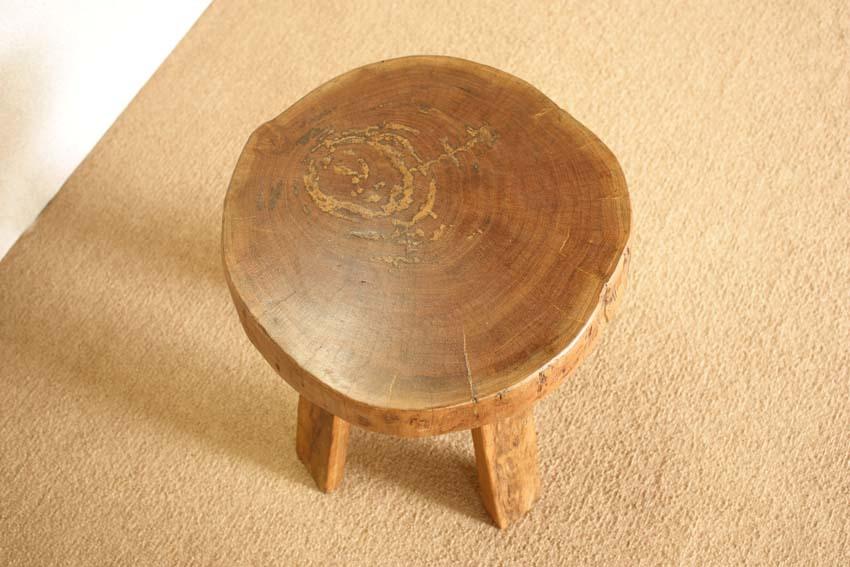 『癒し』アンティーク*チーク古木自然杢*オールドチーク*銘木*無垢*木の椅子*古い木*ナチュラルウッド*天然木*スツール☆輪切椅子/WD-054bs_画像3