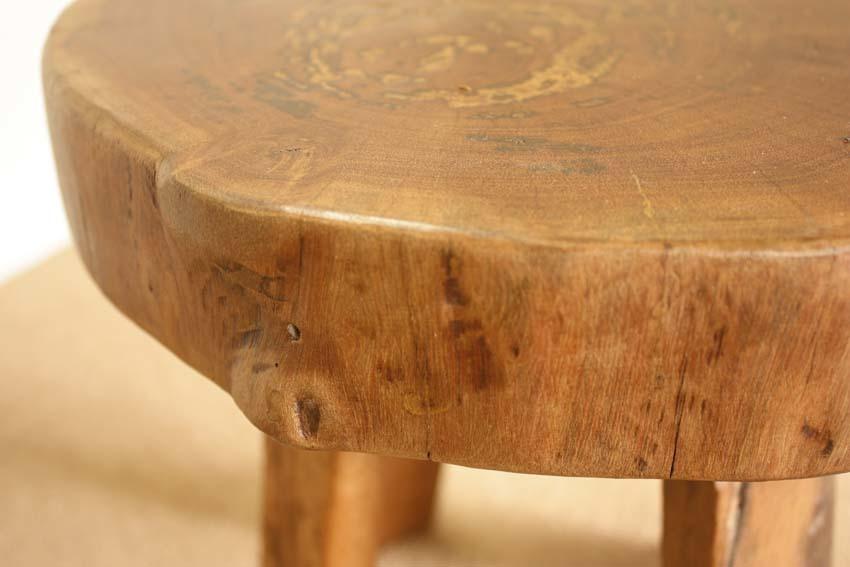 『癒し』アンティーク*チーク古木自然杢*オールドチーク*銘木*無垢*木の椅子*古い木*ナチュラルウッド*天然木*スツール☆輪切椅子/WD-054bs_画像5