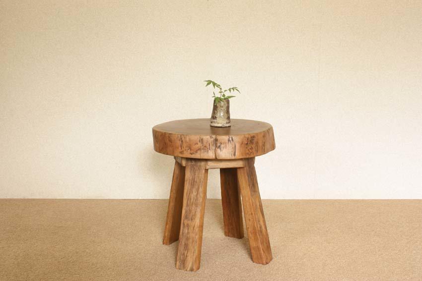 『癒し』アンティーク*チーク古木自然杢*オールドチーク*銘木*無垢*木の椅子*古い木*ナチュラルウッド*天然木*スツール☆輪切椅子/WD-054bs_画像2