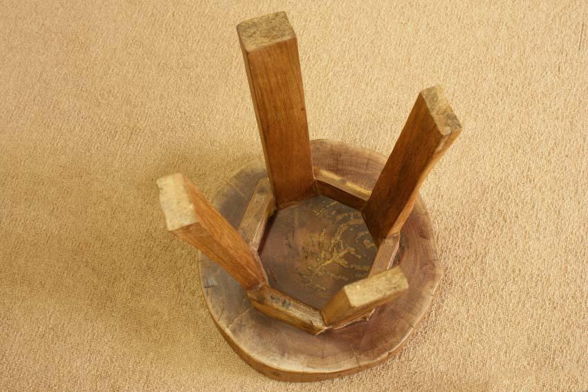 『癒し』アンティーク*チーク古木自然杢*オールドチーク*銘木*無垢*木の椅子*古い木*ナチュラルウッド*天然木*スツール☆輪切椅子/WD-054bs_画像10