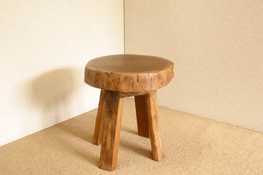 『癒し』アンティーク*チーク古木自然杢*オールドチーク*銘木*無垢*木の椅子*古い木*ナチュラルウッド*天然木*スツール☆輪切椅子/WD-054bs_画像6