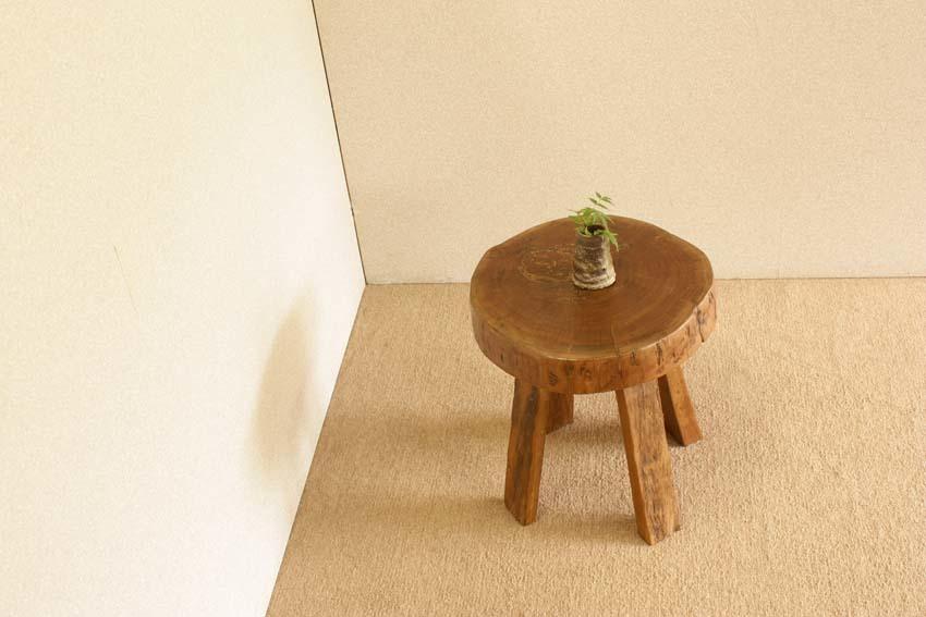 『癒し』アンティーク*チーク古木自然杢*オールドチーク*銘木*無垢*木の椅子*古い木*ナチュラルウッド*天然木*スツール☆輪切椅子/WD-054bs_画像9