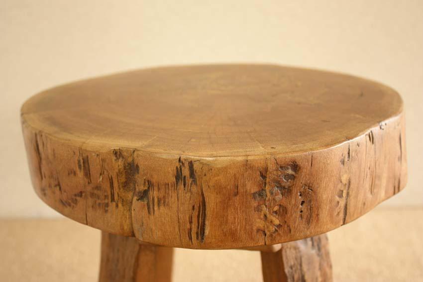 『癒し』アンティーク*チーク古木自然杢*オールドチーク*銘木*無垢*木の椅子*古い木*ナチュラルウッド*天然木*スツール☆輪切椅子/WD-054bs_画像8