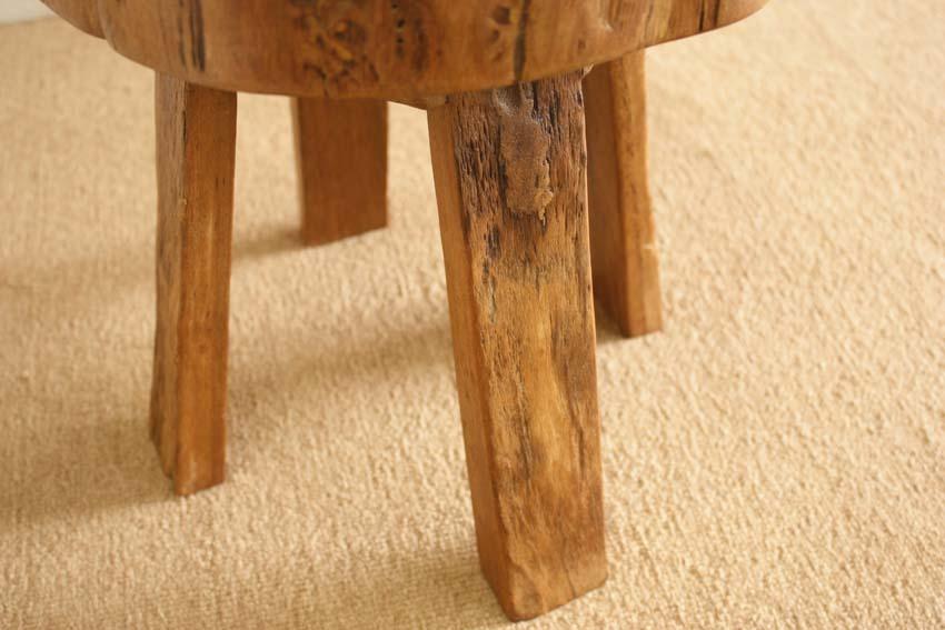 『癒し』アンティーク*チーク古木自然杢*オールドチーク*銘木*無垢*木の椅子*古い木*ナチュラルウッド*天然木*スツール☆輪切椅子/WD-054bs_画像7