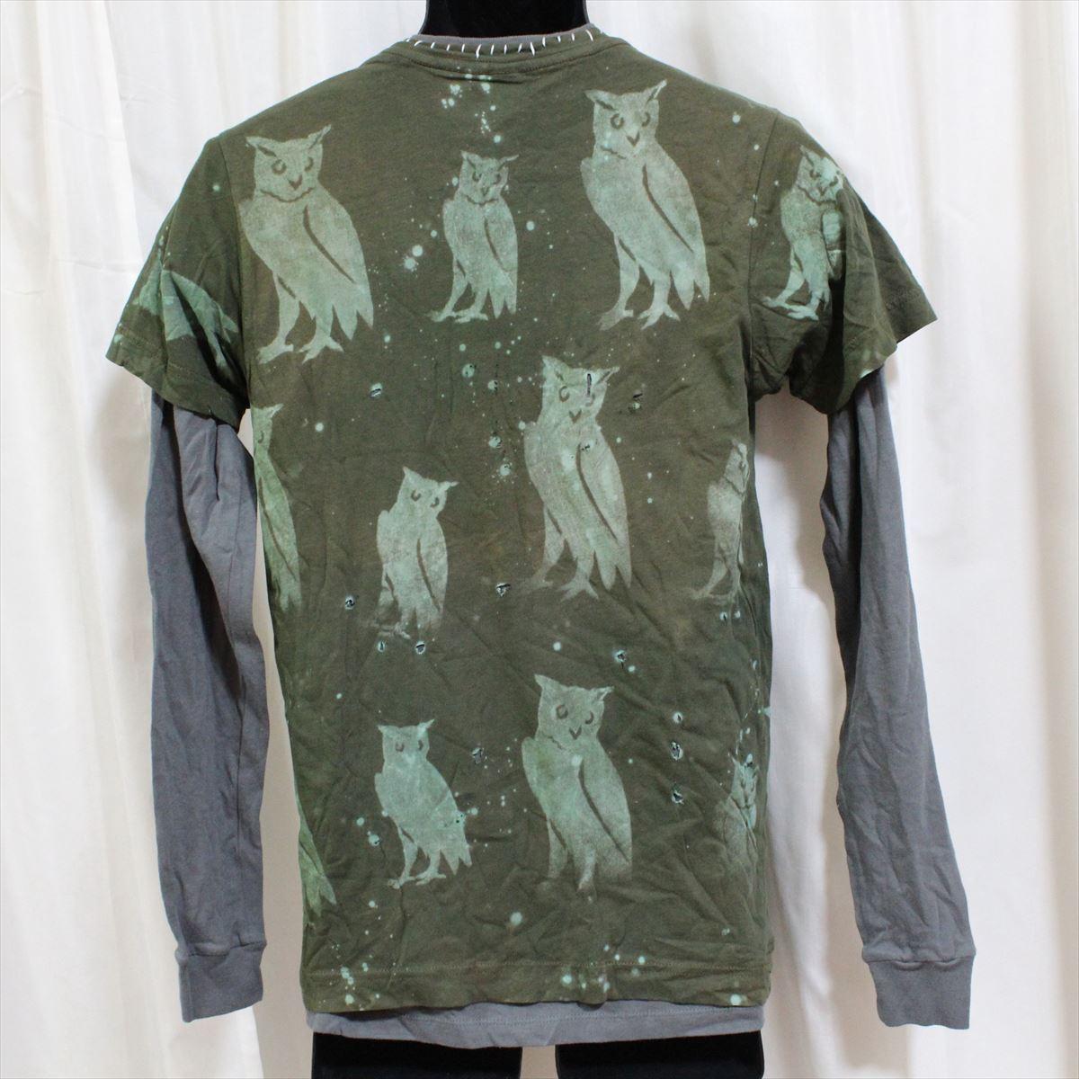 アイコニック ICONIC COUTURE メンズ長袖Tシャツ カーキグリーン Sサイズ 新品 ダブルスリーブ フクロウ アメリカ製_画像4