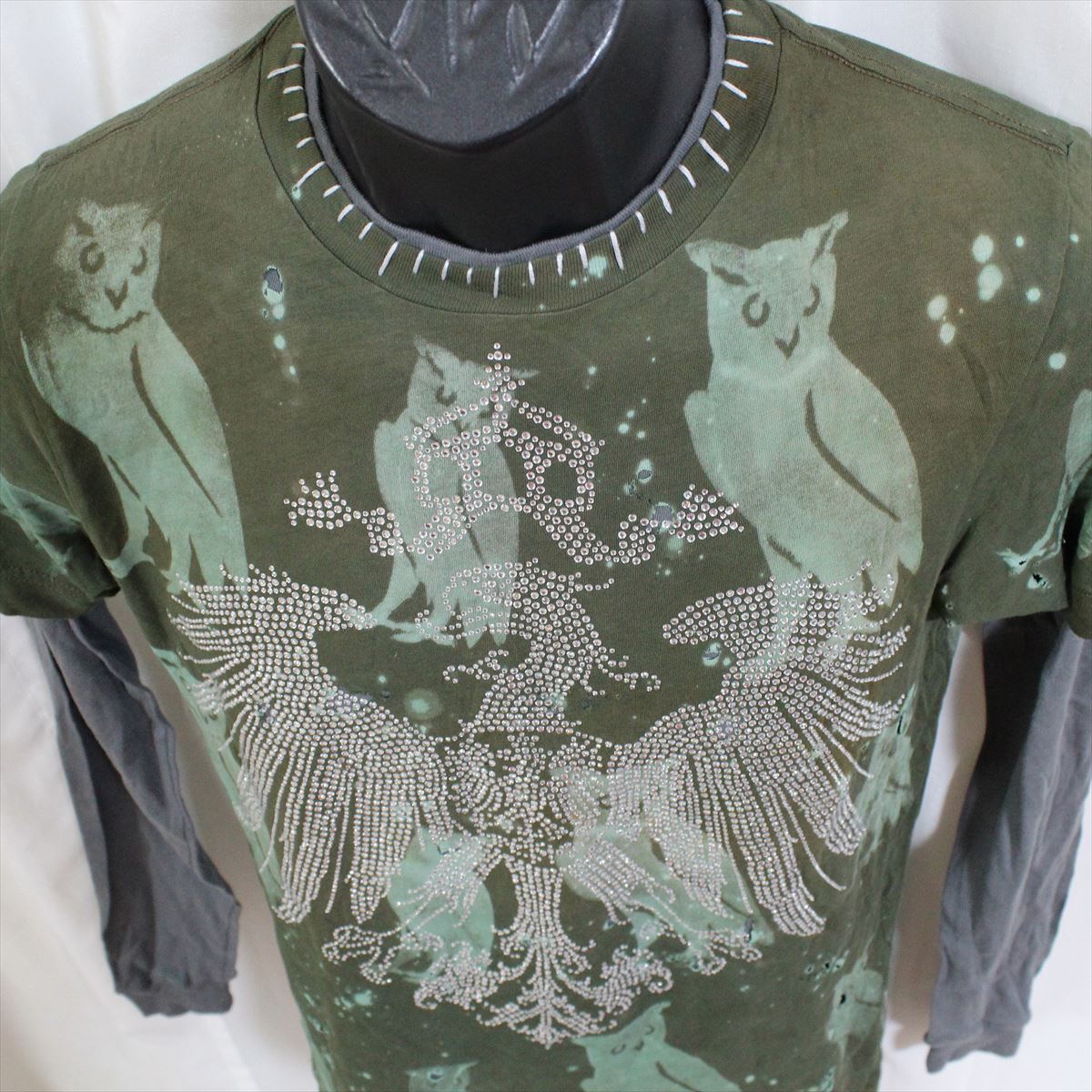 アイコニック ICONIC COUTURE メンズ長袖Tシャツ カーキグリーン Lサイズ 新品 ダブルスリーブ フクロウ アメリカ製_画像3