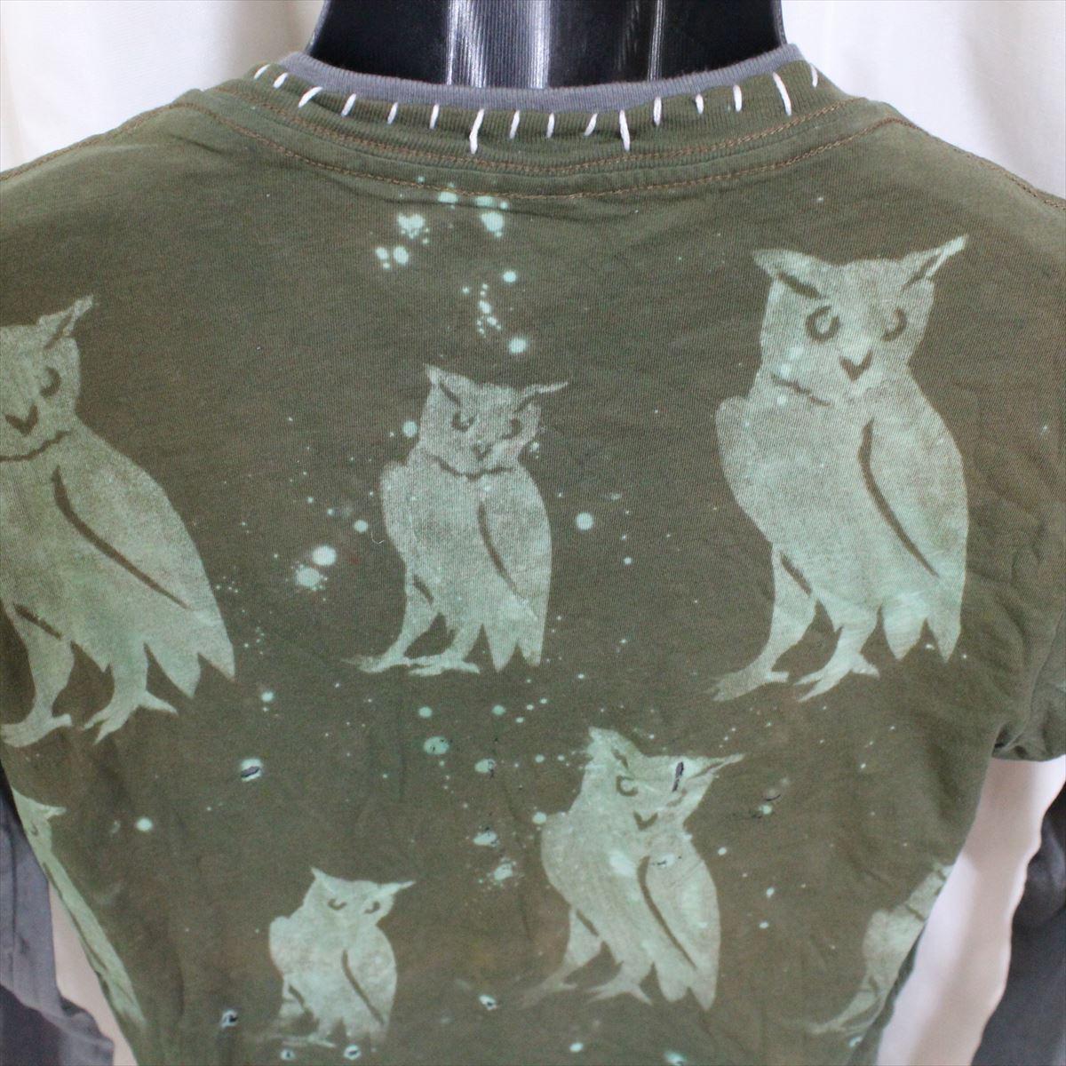 アイコニック ICONIC COUTURE メンズ長袖Tシャツ カーキグリーン Sサイズ 新品 ダブルスリーブ フクロウ アメリカ製_画像5