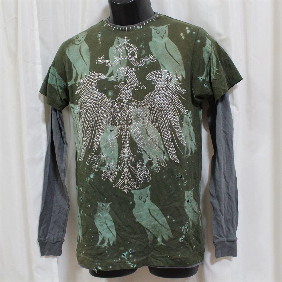 アイコニック ICONIC COUTURE メンズ長袖Tシャツ カーキグリーン Lサイズ 新品 ダブルスリーブ フクロウ アメリカ製_画像1