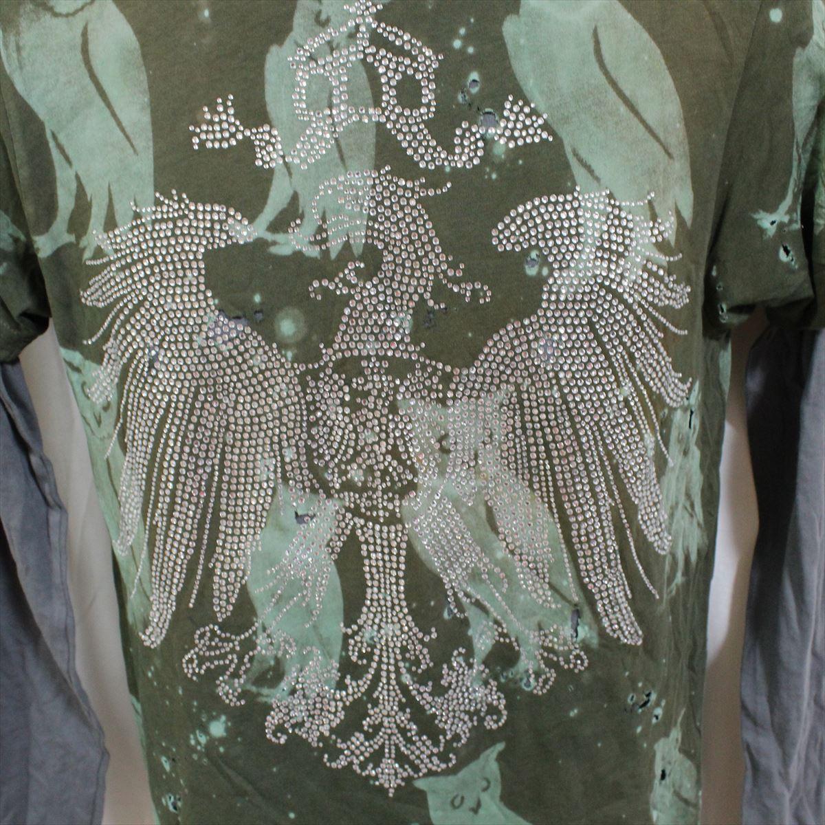 アイコニック ICONIC COUTURE メンズ長袖Tシャツ カーキグリーン Lサイズ 新品 ダブルスリーブ フクロウ アメリカ製_画像2