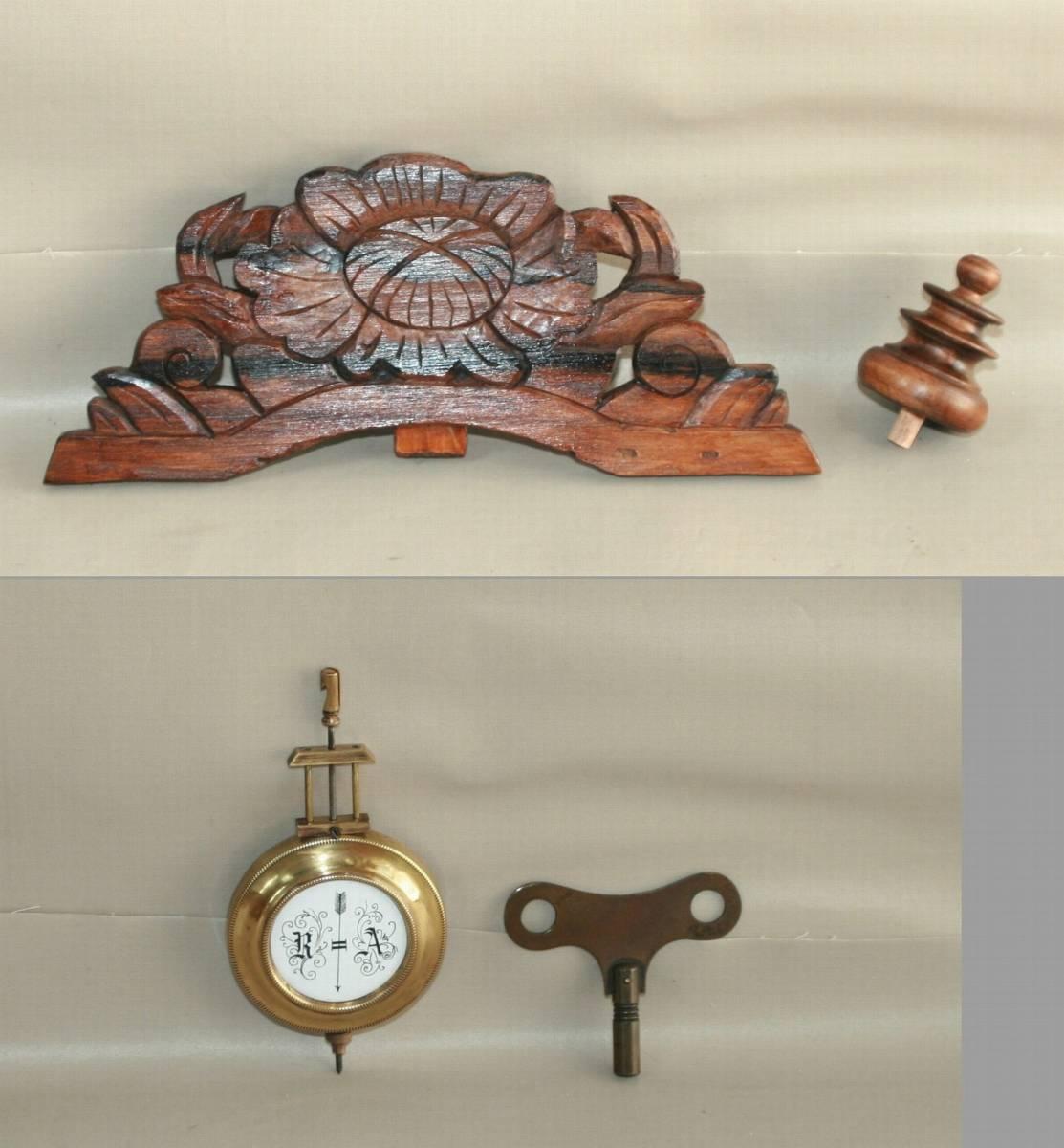 OH済み:黒柿製小型バイオリン型の柱時計・古時計_画像6