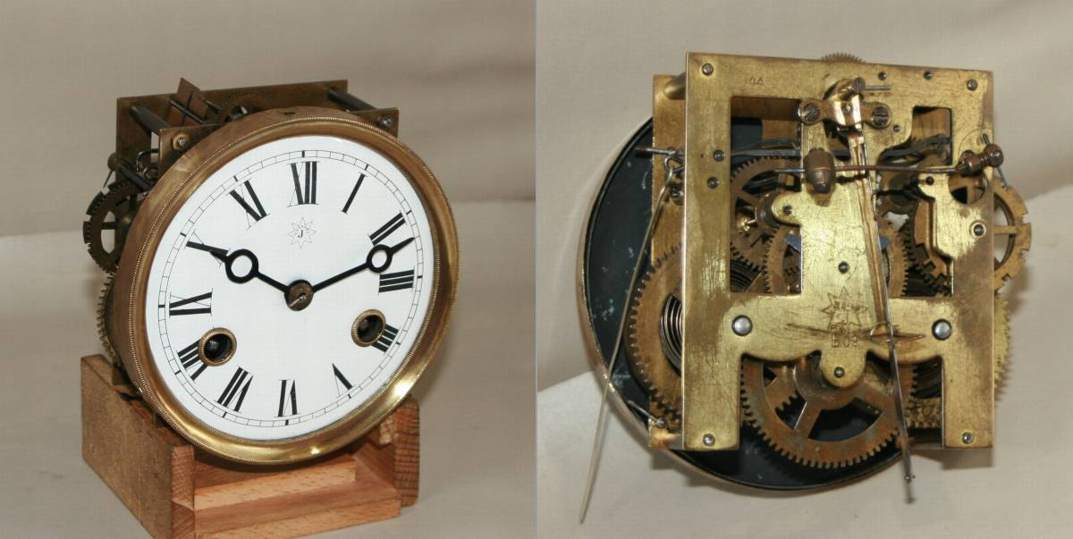 OH済み:黒柿製小型バイオリン型の柱時計・古時計_画像10