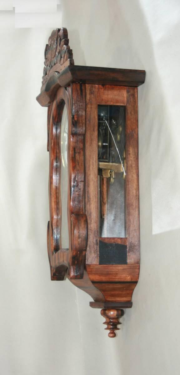 OH済み:黒柿製小型バイオリン型の柱時計・古時計_画像4