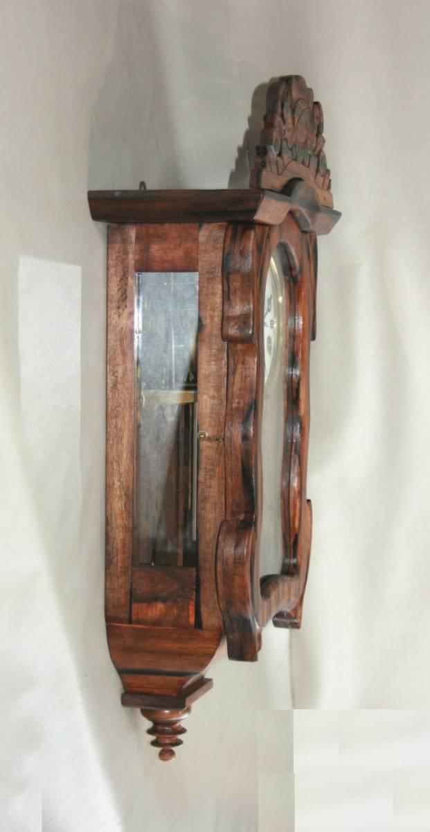 OH済み:黒柿製小型バイオリン型の柱時計・古時計_画像3