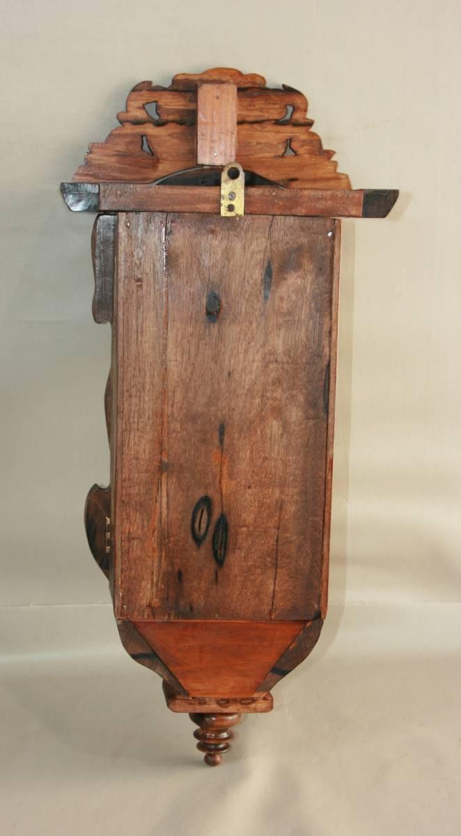 OH済み:黒柿製小型バイオリン型の柱時計・古時計_画像5